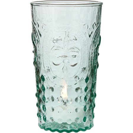 Vintage Glassware, Vase and Votive Candle Holder (5.25-Inch, Ivy Design, Fleur de Lis Motif, Vintage Green) FOOD