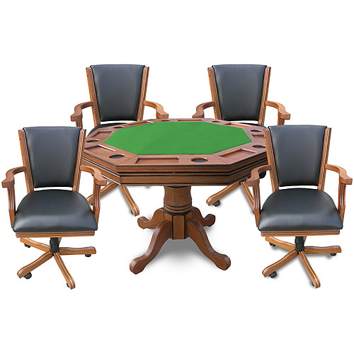 Hathaway Kingston 3-in-1 Poker Table with 4 Chairs, Oak by Generic