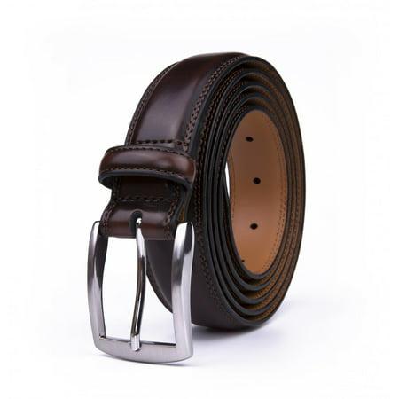 Dress Belts For Men, 1.25-inch Wide Classic Real Leather Belt - Mahogany](Real Batman Utility Belt For Sale)