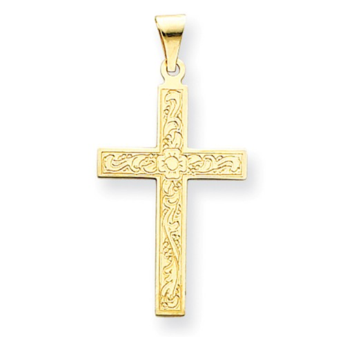 14k Yellow Gold Engravable Floral Latin Cross Pendant