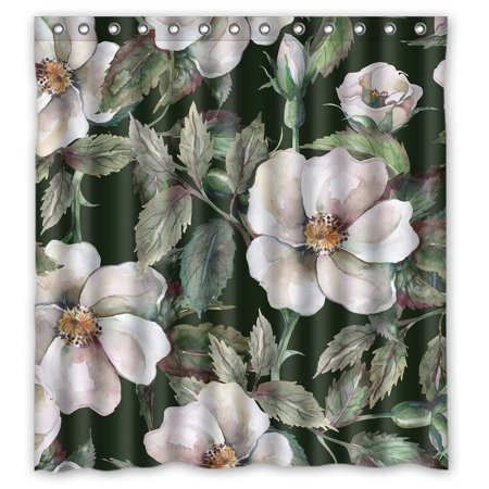 GreenDecor White Peony Chinese Flower Style Waterproof Shower Curtain Set With Hooks Bathroom Accessories Size 66x72 Inches