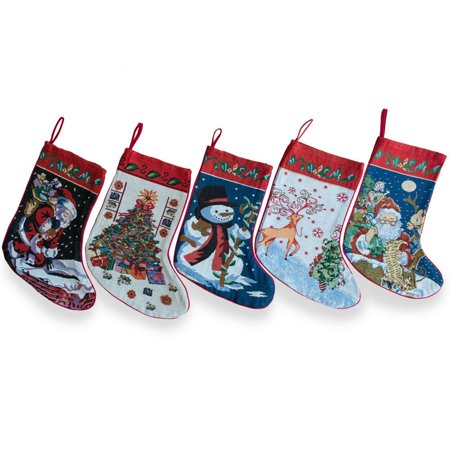 "18"" Set of 5 Santa, Snowman, Reindeer & Tree Christmas Stockings"