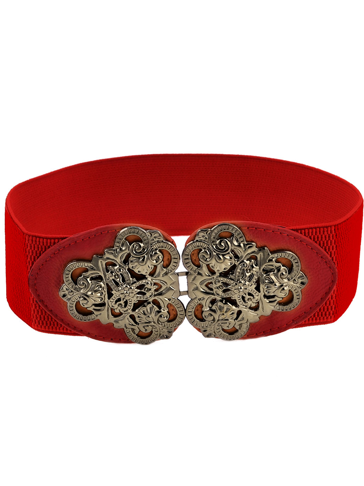 Red Elastic Stretch Band Lychee Print Dressing Blouse Belt for Girls