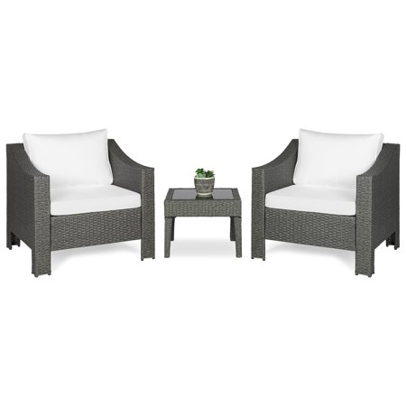 Best Choice Products Set of 2 Outdoor Patio Wicker Club Patio Accent Chairs w/ Side Table, Gray ()