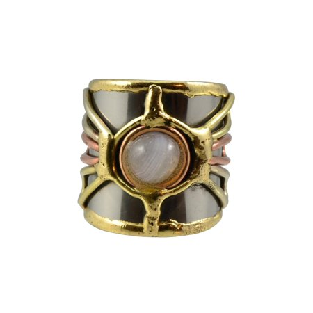Mixed Metal Ring (Welded Mixed Metal CUFF RING, Firefly Cabochon Design, One Size, by Anju )