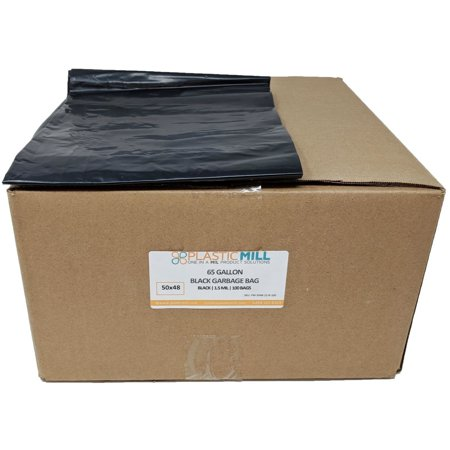 PlasticMill 65 Gallon, Black, 1.5 Mil, 50x48, 100 Bags/Case, Garbage Bags / Trash Can Liners.