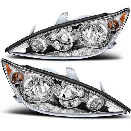 For Toyota Camry 2005-2006 Headlamp Headlight Assembly Chrome Housing Amber Reflector Clear Lens (Driver and Passenger Side) Light Lens Housing