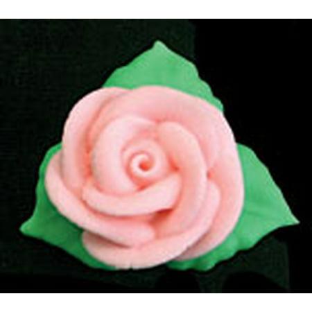 Pink Rose W/3 Leaves Royal Icing Cake/Cupcake Decorations 12 Ct (Halloween Cupcake Icing Decorations)