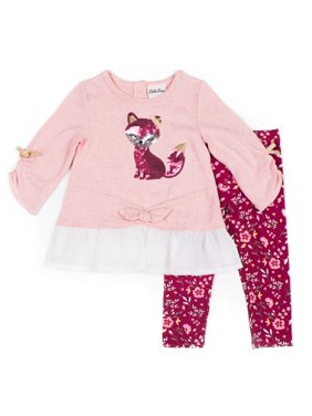 Little Lass Tie-Front Critter Top and Printed Leggings, 2pc Outfit Set (Baby Girls & Toddler Girls)