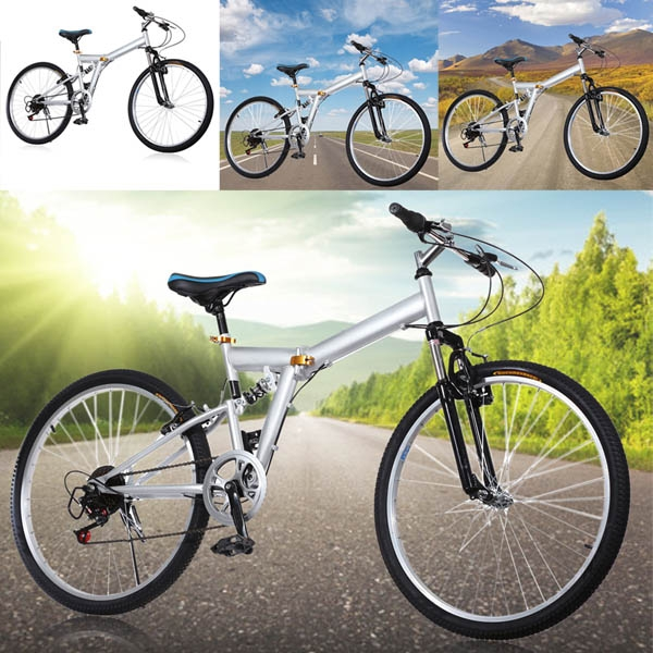 "New 26"" Folding Bicycle 6 Speed Mountain Bike Sport Cycli..."