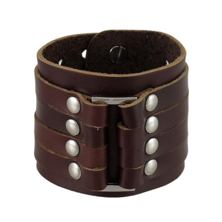 Brown Leather 4 Strap Wristband Wrist Band Chrome Studs