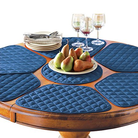 Collections Etc Kitchen Table Placemat and Centerpiece Set - 7 pc-Blue ()