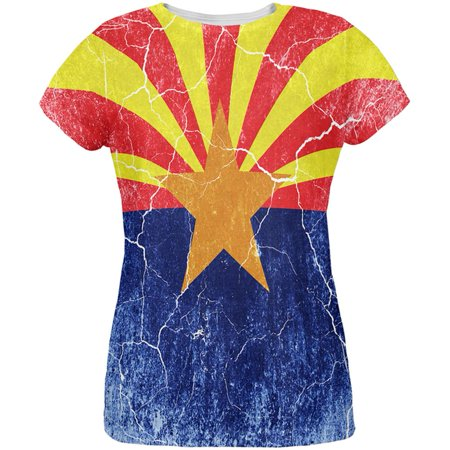 Vintage Ale - Arizona Vintage Distressed State Flag All Over Womens T Shirt