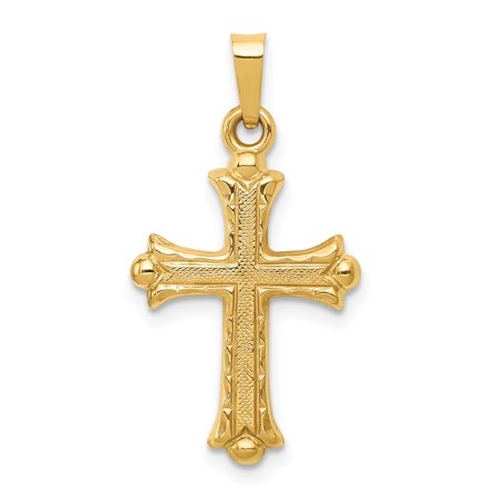 14k Yellow Gold Fleur De Lis Cross Religious Pendant Charm Necklace Gifts For Women For Her