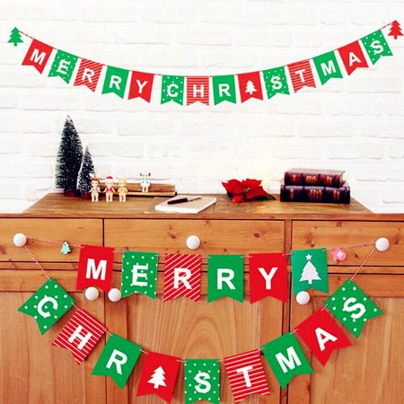 Vintage Merry Christmas Paper Cards Bunting Christmas Party Banner Hanging Decoration,Christmas Bunting Banner - Lumberjack Party Decorations - Merry (Very Merry Christmas Party Button)