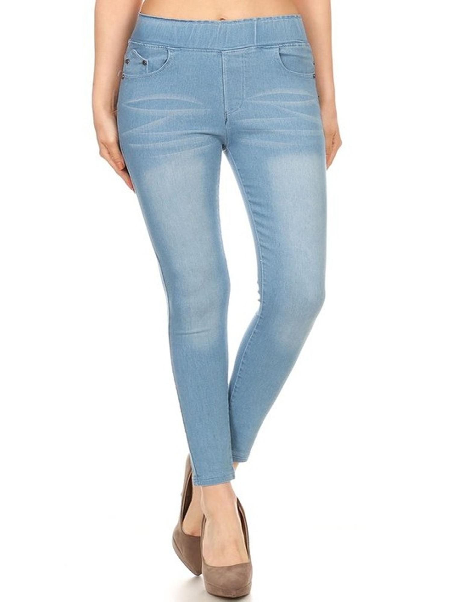 NEW MOA Women's Casual Soft Solid High Waist Stretch Denim Jegging Pants