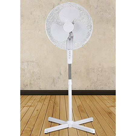 "White 16"" High Velocity Fan 3-Speed Oscillating Standing Floor Adjustable Height"