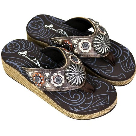8f169133af26 Montana West Women s Hand Beaded Flip Flop Sandals (11 ...