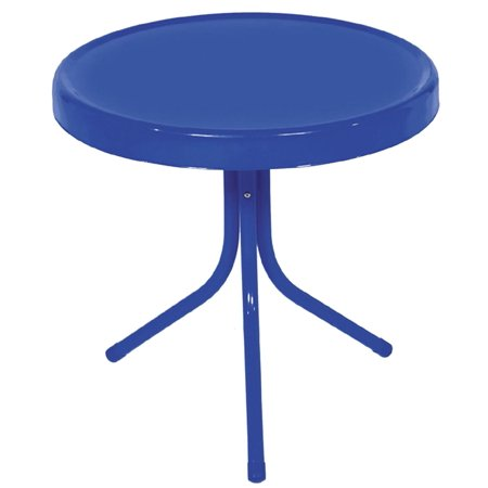 20 Quot Electric Blue Retro Metal Tulip Outdoor Side Table
