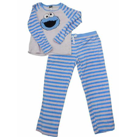Women Mobster (Womens Sesame Street Cookie Monster Minky Fleece Striped Pajamas Sleep)
