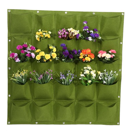 VBESTLIFE Plant Grow Container,25 Pockets Outdoor Garden Vertical Planting Bag Wall Hanging Flower Growing Container Grow Bag(Green)