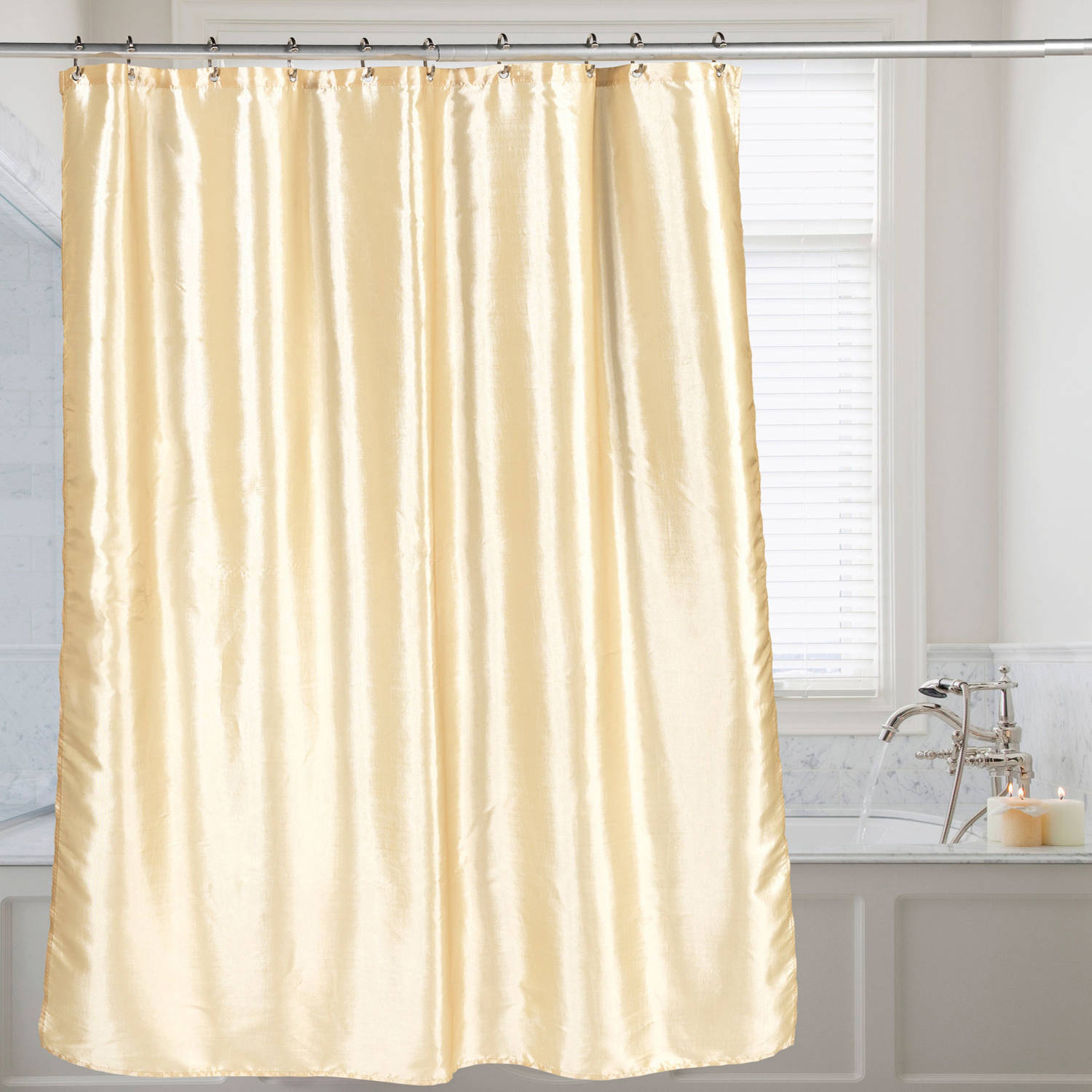 Faux Silk Shimmer Polyester Fabric Bath Shower Curtain 70 X 72