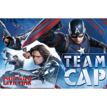 Captain America Poster (Captain America Civil War- Team Cap In Action Poster -)