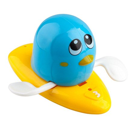 ikidsislands wind-up bath toys for boys and girls - floating bathtub toys for toddlers, babies and kids - fun and educational (blue penguin)