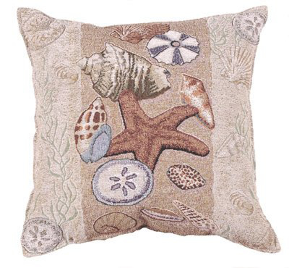 "Seashell Collection Beachside Decorative Throw Pillow 17"" x 17"""