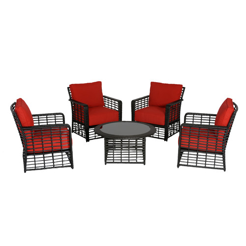 Meadow Decor Melrose Chat 5 Piece Deep Seating Group with Cushions