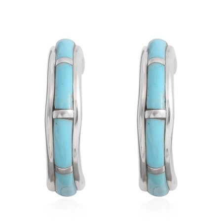 925 Sterling Silver Fancy Turquoise Hoops, Hoop Fashion Earrings For Women and Jewelry Gift (Blue/Multi color)