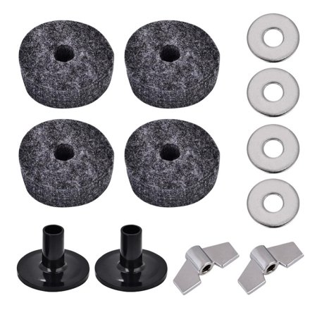 Hilitand Drum Felt Washer Pad Plastic Cymbal Stand Sleeve Replacement Parts Set with Wing Nuts, Cymbal Sleeve, Cymbal Felt Washer