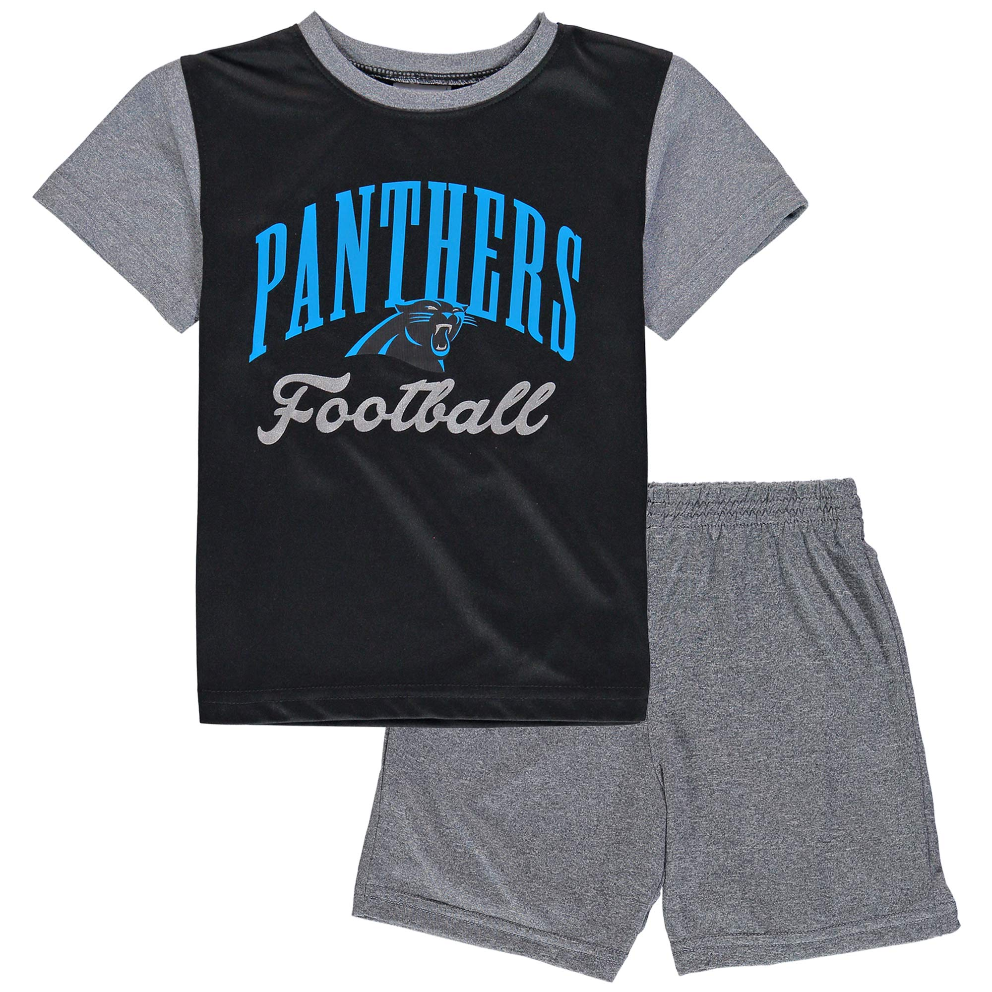 Carolina Panthers NFL Pro Line by Fanatics Branded Toddler Two-Piece Victory Script T-Shirt and Short Set - Black/Heathered Gray