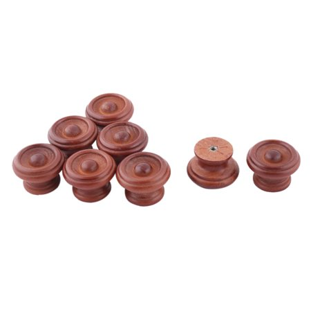 Uxcell Home Wood Round Single Hole Furniture Wardrobe Pull Handle Grip Knob Brown