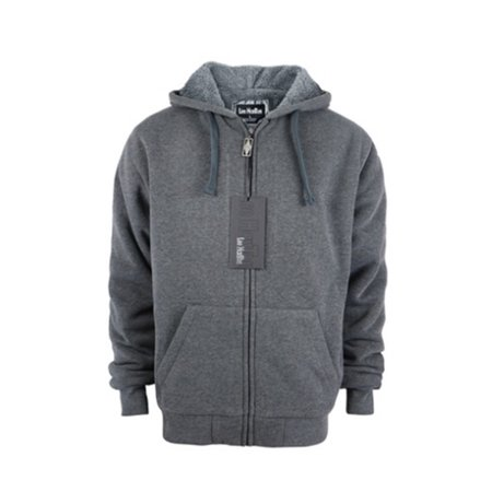 leehanton mens zip up hoodie sherpa lined warm winter long sleeve solid sweatshirt dark grey 3xl