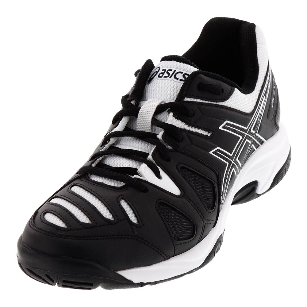 Asics Juniors` Gel-Game 5 Tennis Shoes Black and White