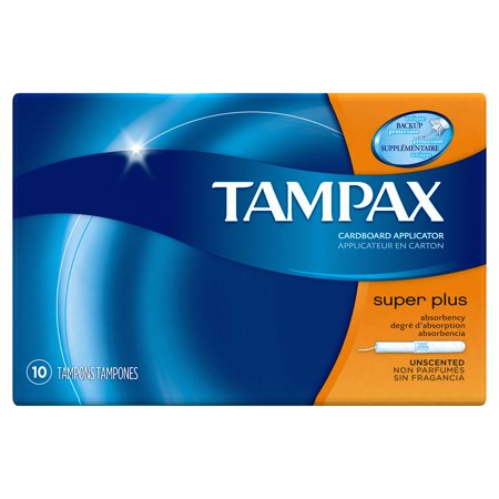 Tampax Cardboard Super Plus Tampons, Unscented, 10