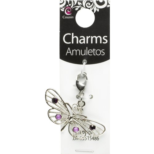 Cousin 1-Piece Metal Butterfly Charm, Silver/Purple