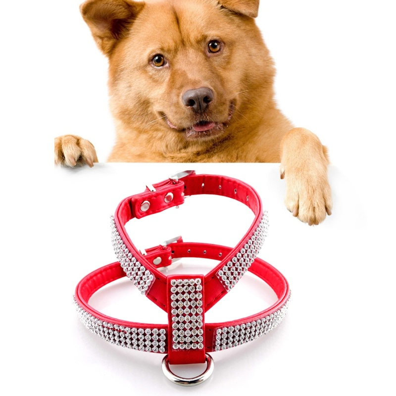 Dog Harness No Pull Rhinestone PU Soft Breathable Pet Vest Dog Chest Strap Leash Dog Collar, Size: Large - Red