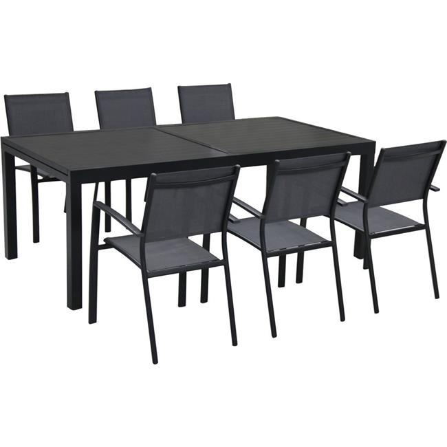 7 piece Naples Dining Set 6 Sling Back Chairs & Table Gray - Aluminum