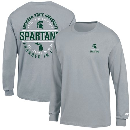 Shop Msu Spartans (Men's Russell Athletic Heathered Gray Michigan State Spartans Circle Logo Long Sleeve)