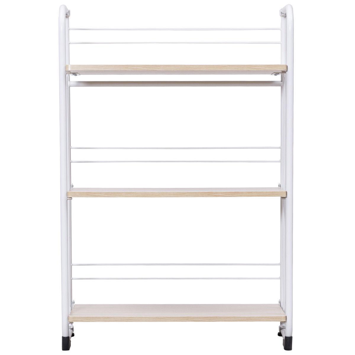 Gymax Folding 3 Tier Shelves Organization Storage Utility Shelving Unit Standing Rack - image 3 of 10