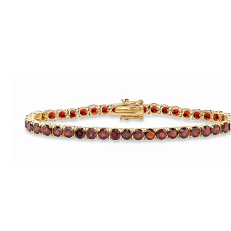 12.90 TCW Round Genuine Red Garnet Tennis Bracelet 18k Yellow Gold-Plated 7.25""