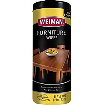 Weiman Wood Cleaner and Polish Wipes - Non Toxic For Furniture To Beautify & Protect, No Build-Up, Contains UVX-15, Pleasant Scent, Surface Safe - 30 Count Non Toxic Furniture
