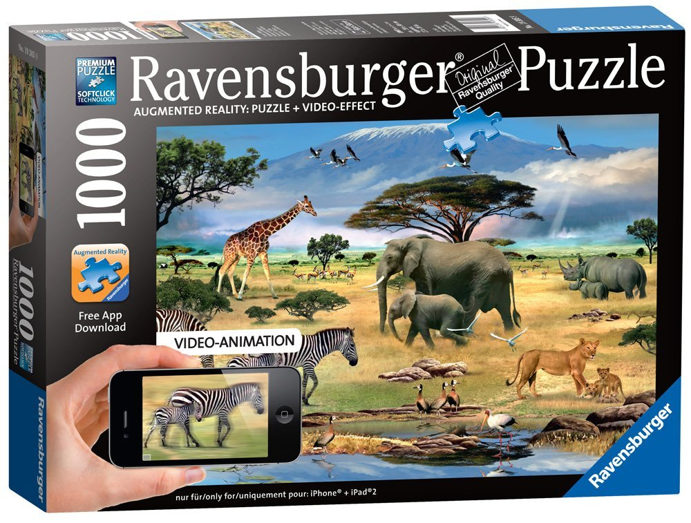 Animals in Africa, 1000-Pieces Augmented Reality Puzzle, The free app AR Puzzle works on the iOS platform and... by