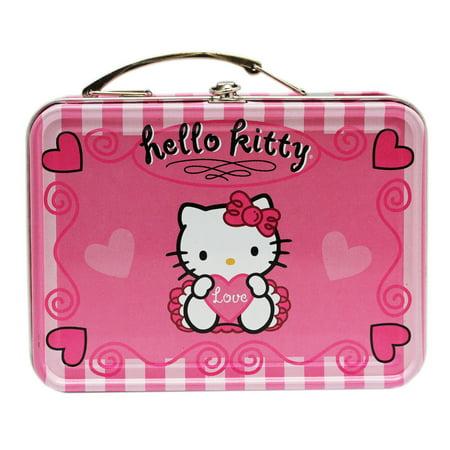 - Hello Kitty Love and Hearts Pink colored Mini Tin Treasure Storage Box w/Handle