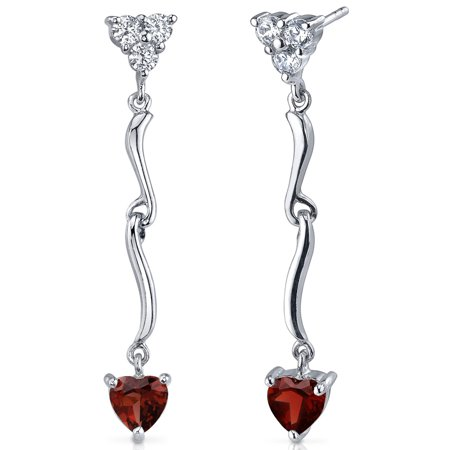 2.00 Ct Heart Shape Garnet Sterling Silver Drop Earrings Rhodium (Garnet Heart Drop)