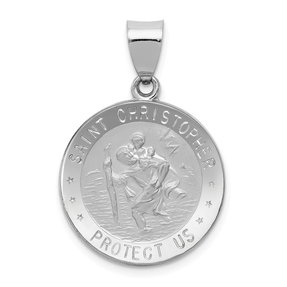 14k White Gold Polished and Satin St. Christopher Medal Pendant