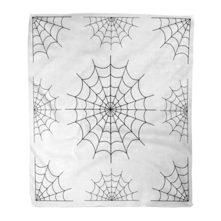 LADDKE Flannel Throw Blanket Cobweb of Spiderweb Black Spider Halloween Tattoo Cartoon Pattern Soft for Bed Sofa and Couch 50x60 - Halloween Cobwebs Designer Photo Blanket