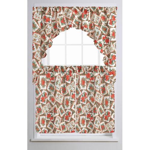 The Holiday Aisle Propst Poinsettia Bloom 60 Curtain Valance And Tier Set Walmart Com Walmart Com
